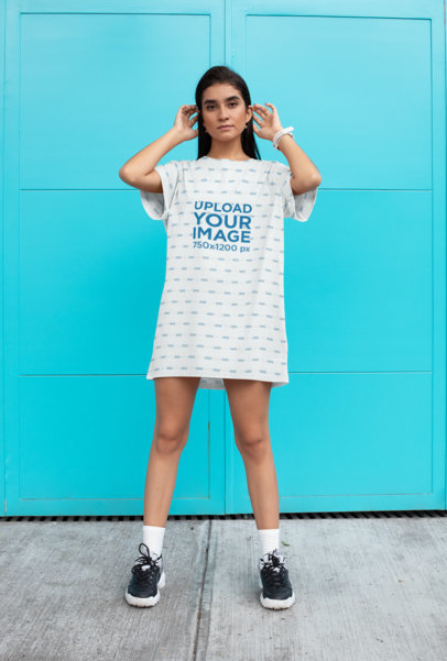 Shift Dress Mockup of a Woman Posing in Front of a Blue Door 29738