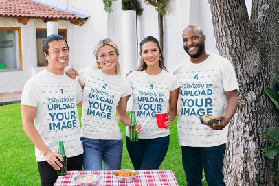T-Shirt Mockup of Four Friends Hanging Out Together at a BBQ Backyard Party 29698