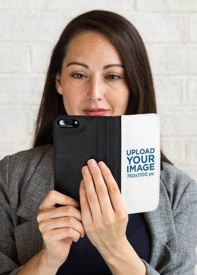 Mockup of a Woman Staring at an iPhone inside a Wallet Case 29804