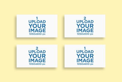 Mockup Featuring Four Business Cards Aligned Against a Colored Background 771-el