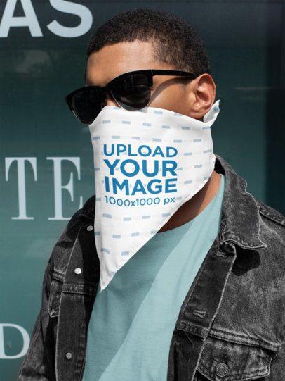 Mockup of a Stylish Man Wearing Glasses and a Bandana 29600