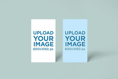 Mockup of Two Vertical Business Cards Standing Next to Each Other 748el