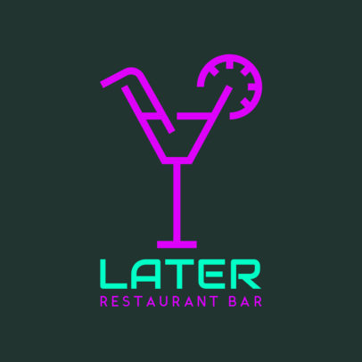 Restaurant Bar Logo Maker with a Neon-Like Aesthetic 1680f 51-el