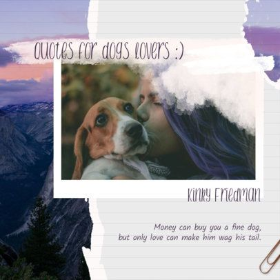 Collage Instagram Post Maker Featuring a Quote for Dog Lovers 1900c
