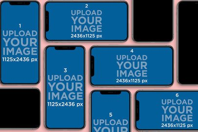 iPhone 11 Mockup Featuring a Mosaic of iPhones 789-el