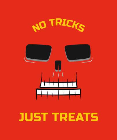 Halloween T-Shirt Design Maker with a Cartoonish Skeleton Face 1878c