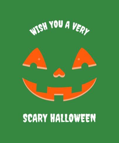 Cute T-Shirt Design Template with a Happy Halloween Pumpkin 1878d