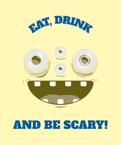 Cute Halloween T-Shirt Design Maker Featuring a Happy Cartoon Monster 1878e