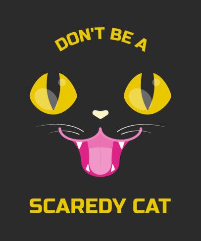 Halloween T-Shirt Design Maker Featuring a Cute Black Cat Face 1878f