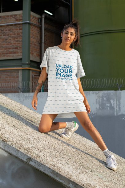 Shift Dress Mockup Featuring a Woman Posing on a Concrete Structure 29733