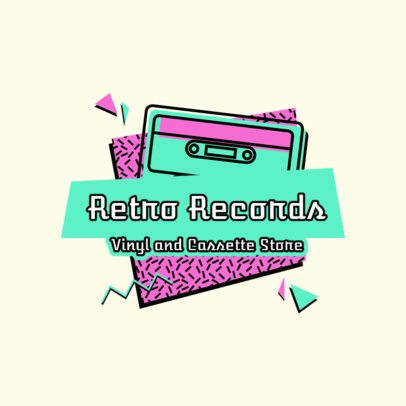 Retro Logo Template for a Vinyl and Cassette Store 2615c