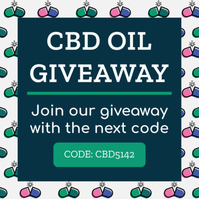 Giveaway Ad Banner Maker with a Marijuana Pills Pattern 1896d