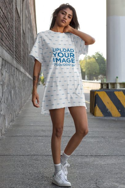 Mockup of a Young Woman with a Shift Dress Walking in the City 29730