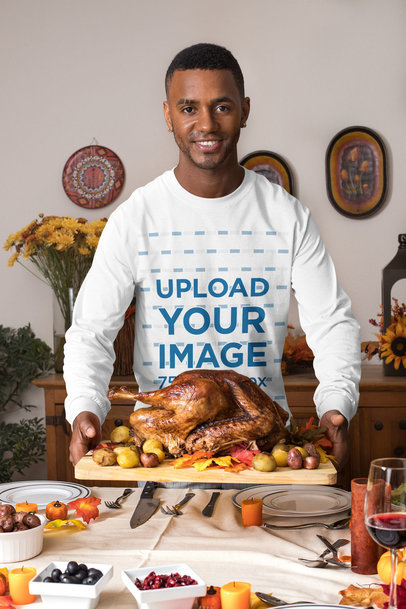 Long Sleeve Tee Mockup of a Man Having a Thanksgiving Dinner 29925