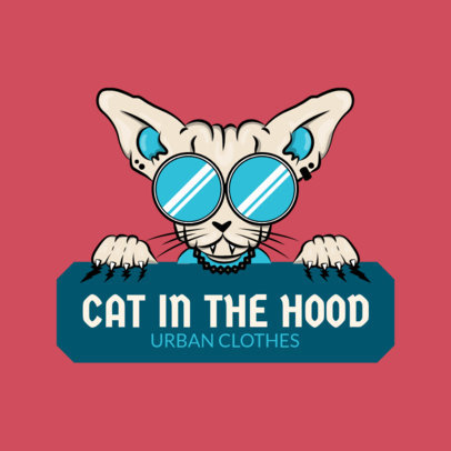 Streetwear Clothing Logo Maker Featuring an Exotic Cat Graphic 2606c