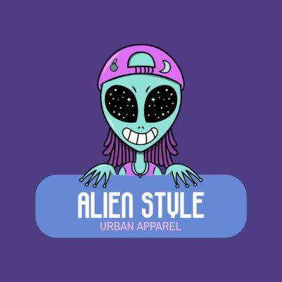 Urban Apparel Logo Generator Featuring a Trippy Alien Illustration 2606f