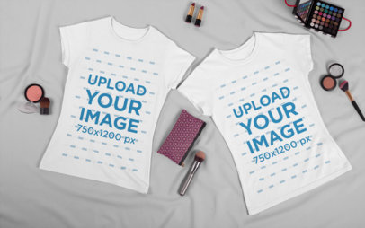 Mockup of Two Matching T-Shirts for Best Friends 29629