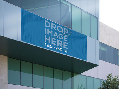 Horizontal Banner Mockup on a Glass Building a10592