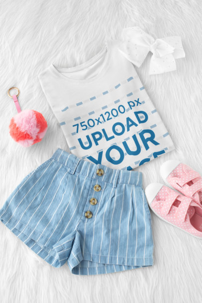 Flat Lay Mockup of a T-Shirt for a Girl 29767