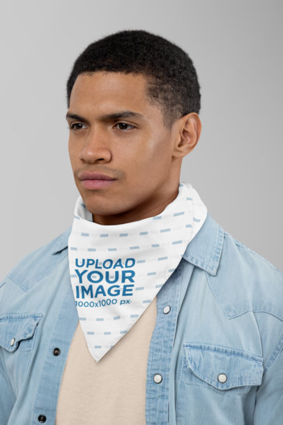 Mockup of a Serious Man with a Bandana Around His Neck 29592