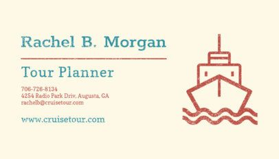 Business Card Design Template for a Tour Planner with a Ship Icon 287f-64-el