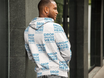 Back Shot of a Man Wearing a Pullover Hoodie Mockup a9324b