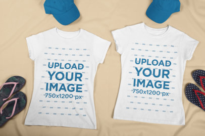 Matching T-Shirt Mockup Featuring Two Summer Outfits 29636