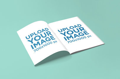 Mockup of an Open Magazine on a Solid Color Surface 762-el