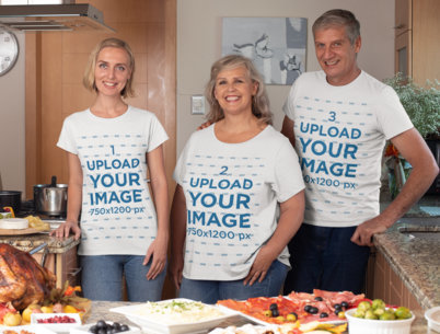 T-Shirt Mockup Featuring a Family at a Home Thanksgiving Dinner