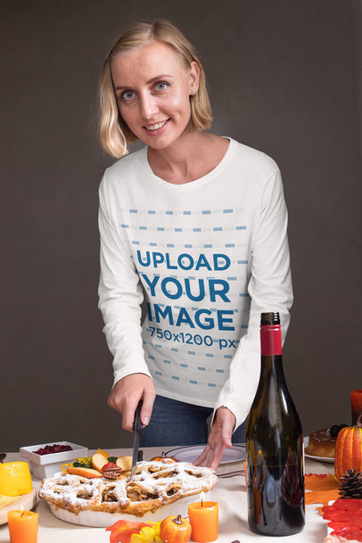 Long Sleeve Tee Mockup of a Woman Serving Pie 29932