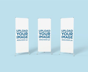 Mockup of Three X-Stand Banners in a Minimalistic Background 807-el