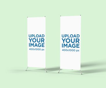 Minimalistic Mockup of Two X-stand Banners 808-el