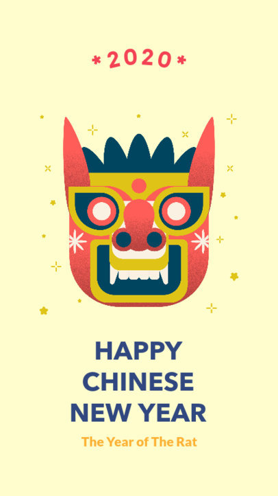 Chinese New Year Instagram Story Template Featuring a Traditional Mask 1923a