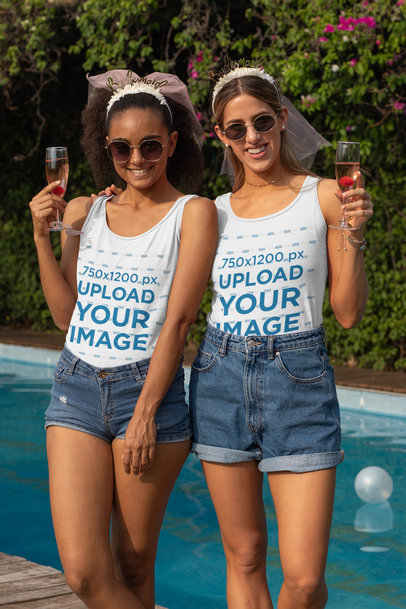 Tank Top Mockup of Two Women Having Fun at a Bachelorette Pool Party