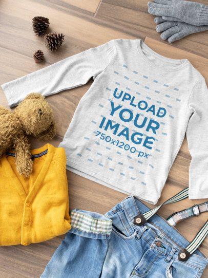Mockup Long Sleeve Tee for a Children's Outfit 29778