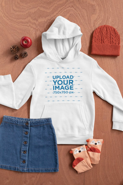Flat Lay Mockup of a Hoodie for a Girl 29815