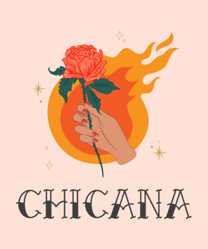 Chicana T-Shirt Design Maker with a Tattoo-Like Rose Illustration 1919c