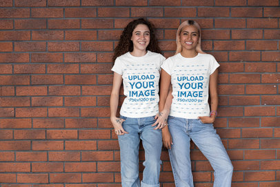 Mockup of Two Best Friends Wearing Matching T-Shirts 29626