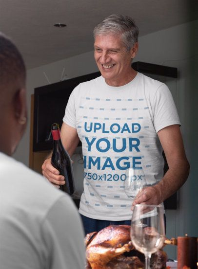 T-Shirt Mockup of a Man Having a Thanksgiving Dinner 29937