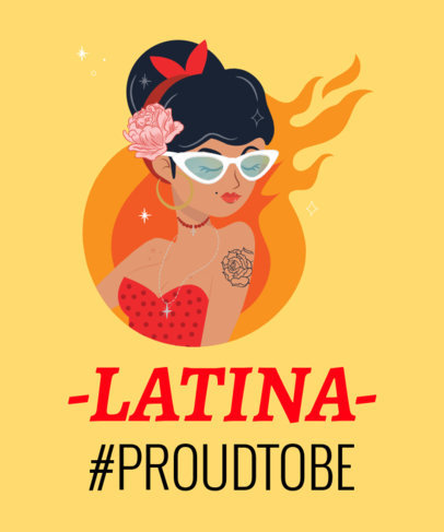 T-Shirt Design Template for Proud Latinas 1919e