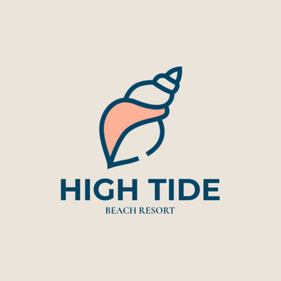 Minimal Logo Template for a Beach Resort Featuring a Seashell Clipart 1762h 82-el