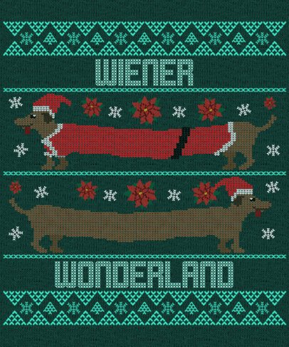 Ugly Sweater Design Maker for Christmas Featuring a Wiener Dog Graphic 1914a