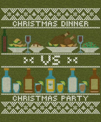 T-Shirt Design Maker for an Ugly Sweater Featuring Christmas Food 1914h