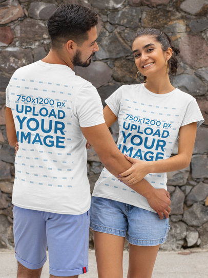 Front and Back Mockup of a Couple Wearing T-Shirts 29783