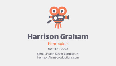 Filmmaker Business Card Design Template with a Movie Camera Illustration 207h 33-el