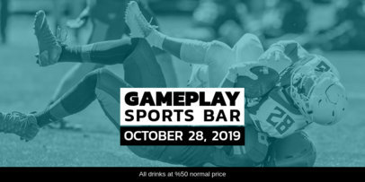 Twitter Post Template for a Sports Bar Football Game Night Event 1933c