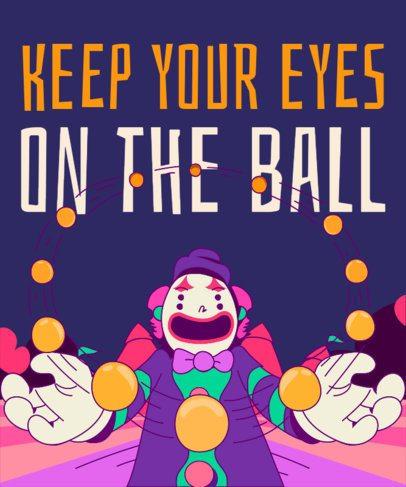 T-Shirt Design Maker Featuring a Clown Juggling Balls Illustration 1915b