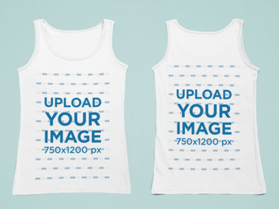 Both Sides Mockup of a Women's Tank Top over a Flat Surface