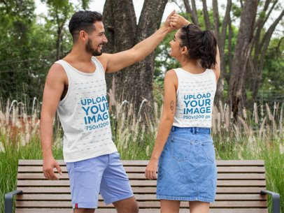 Both-Sides View Mockup of a Man and a Woman Wearing Tank Tops 29780
