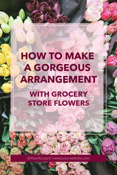 Valentine's Day Pinterest Pin Template for Easy Flower Arrangement Ideas 627k 1961